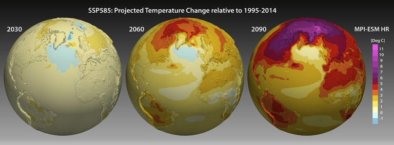 """Figure 1: Change in 2m temperature for the rather pessimistic scenario SSP585 as simulated by the model MPI-ESM HR. The three globes show the warming pattern (annual mean) for the years 2030, 2060 und 2090 compared to the """"current"""" situation (1995-2014)."""