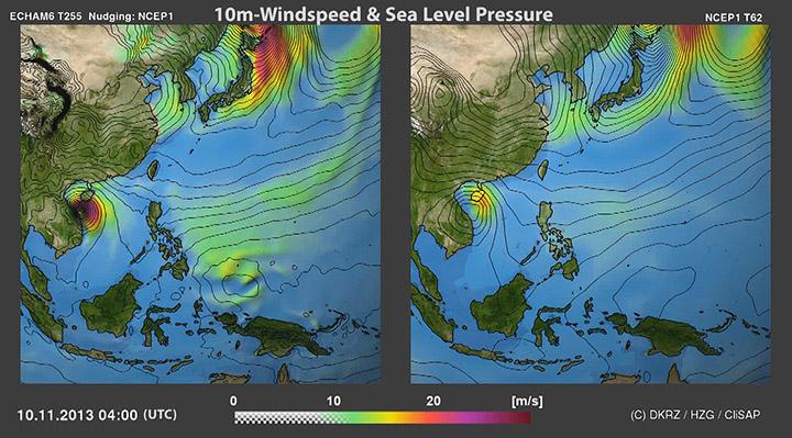Taifun Hayan: ECHAM6 vs NCEP