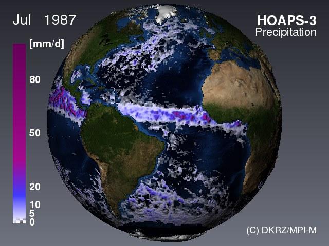 Niederschlag über dem Meer (HOAPS)