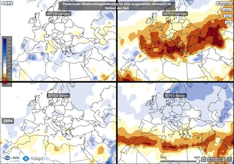 Interactive visualization of IPCC scenario simulations through the web