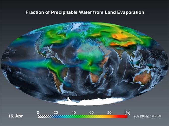 Precipitable Water from Land Evaporation